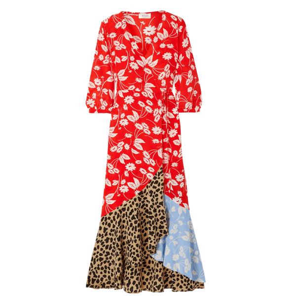 Rixo london noleen paneled printed silk crepe wrap dress