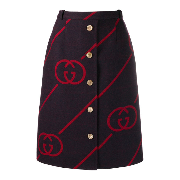 Gucci gucci interlocking gg reversible wool skirt
