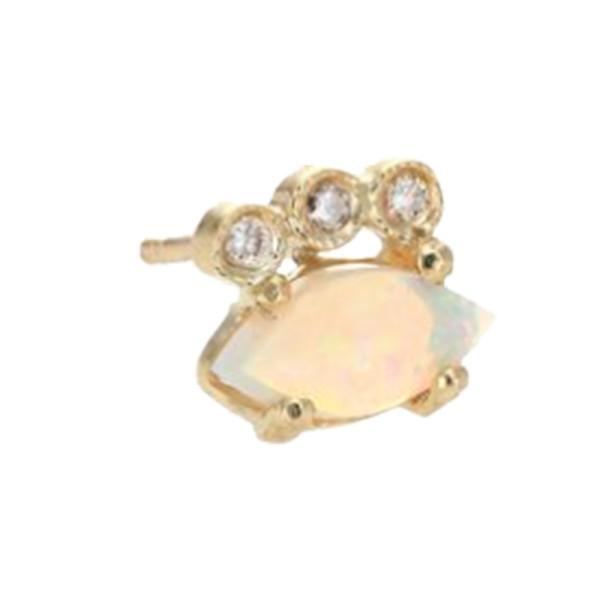 Jacquie aiche diamond  white opal   14k yellow gold single stud earring