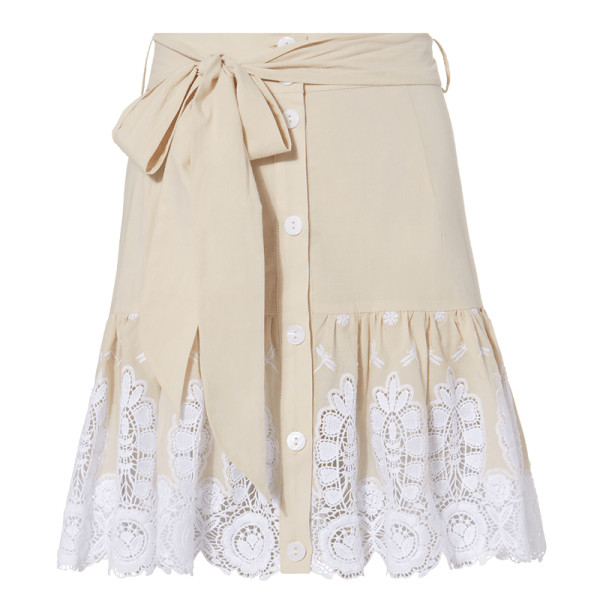 Miguelina emy embroidered skirt