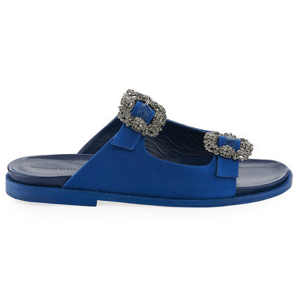 Manolo blahnik sturlushangi satin slide sandal
