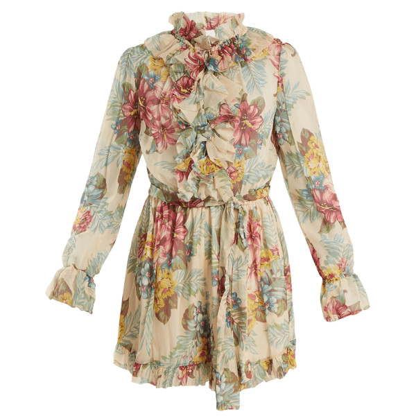 Zimmermann kali floral print silk georgette playsuit