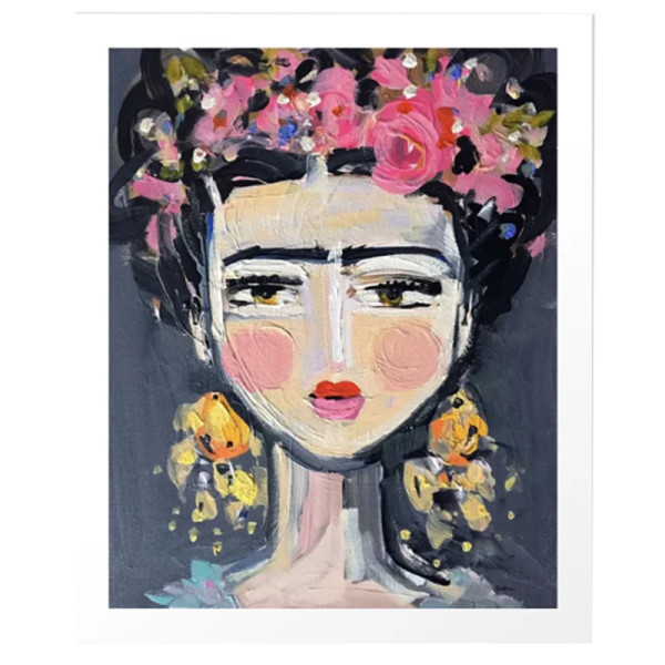 Devine paintings portrait inspired by frida art print