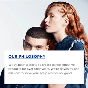 A man and a woman with her chin rested on his head and short note about Our Philosophy on the white square background.