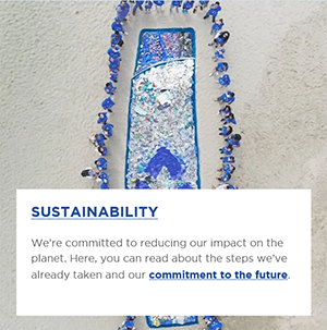 People on the beach standing next to a bottle shape made from plastic pollution and a short note about Sustainability on the white background.