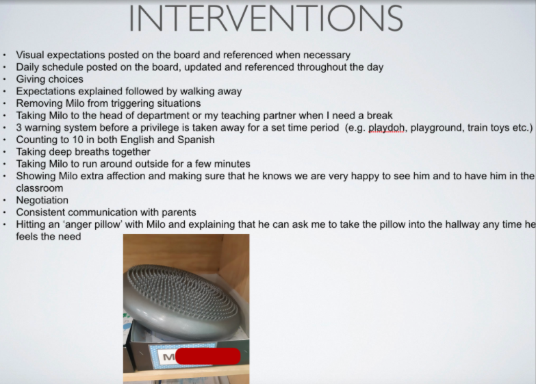 List of interventions including a picture of a spiky pillow (anger pillow)
