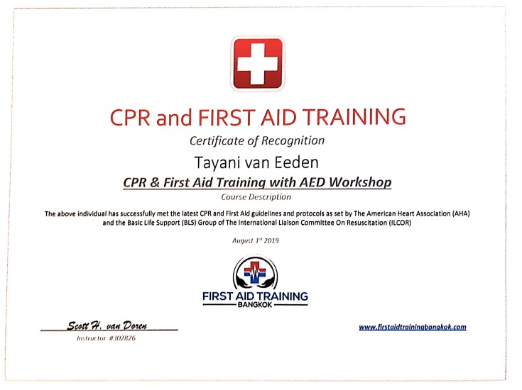 CPR / first aid Certificate