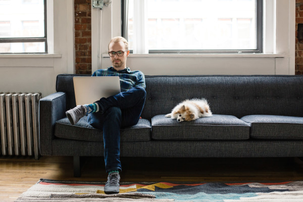 man on couch with laptop and dog