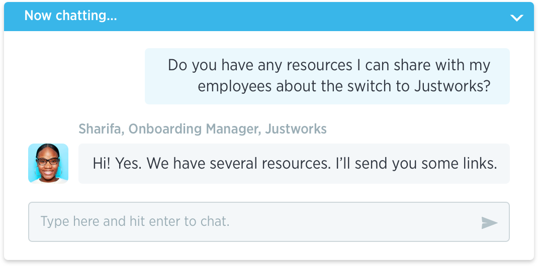 Justworks onboarding support