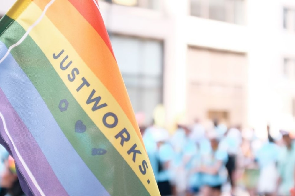 Justworks flag at the New York Pride Parade