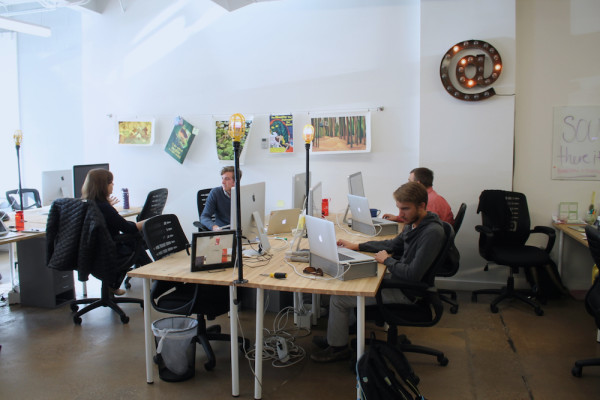 A snapshot of the working environment at PivotDesk.