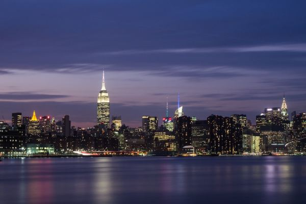 The New York City skyline at night