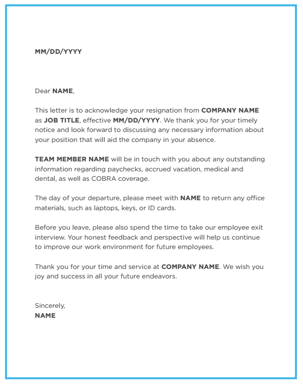 Employers take the right steps with this resignation acceptance blog image employee resignation acceptance letter altavistaventures Gallery