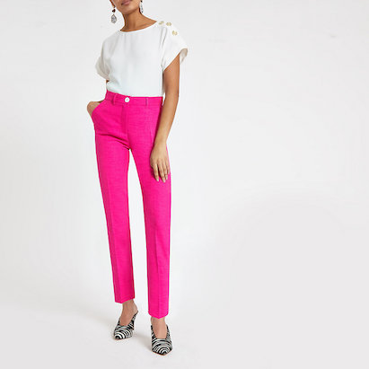 pink cigarette trousers river island £36