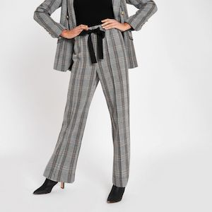Grey Herringbone Check Wide Leg Trousers