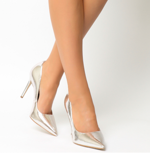 Homie Point Court Heels Silver Snake