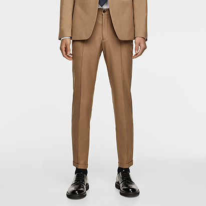 Textured Cropped Suit Trousers