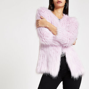 Purple Knit Faux Fur Coat