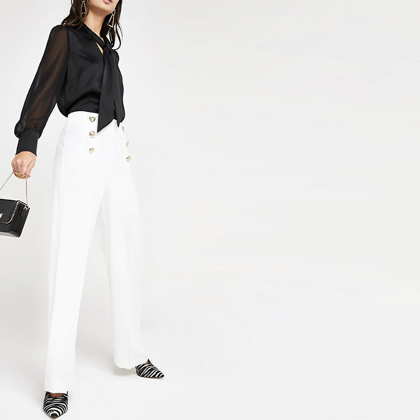White button front wide leg trousers