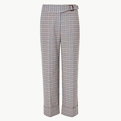 Checked Wide Leg Ankle Grazer Trousers