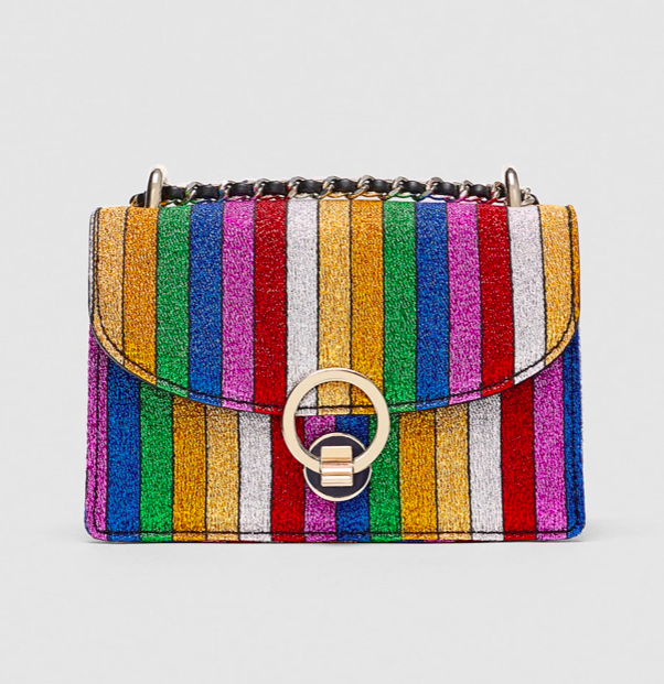 Mini Crossbody Bag With Multicoloured Stripes