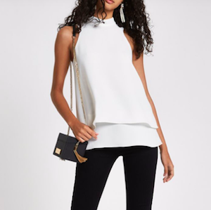 White Halter Neck Double Layer Blouse