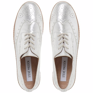 Silver leather 'Greco' platform lace-up shoes