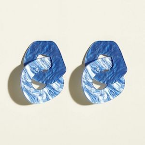 Bright Blue Link Drop Resin Earrings