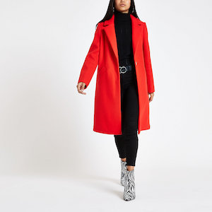 Red Single Breasted Longline Coat