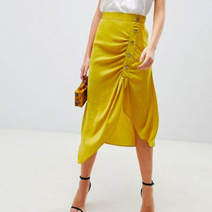Satin Midi Skirt With Popper Front