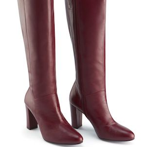 Burgundy Leather Zip Knee High Boots