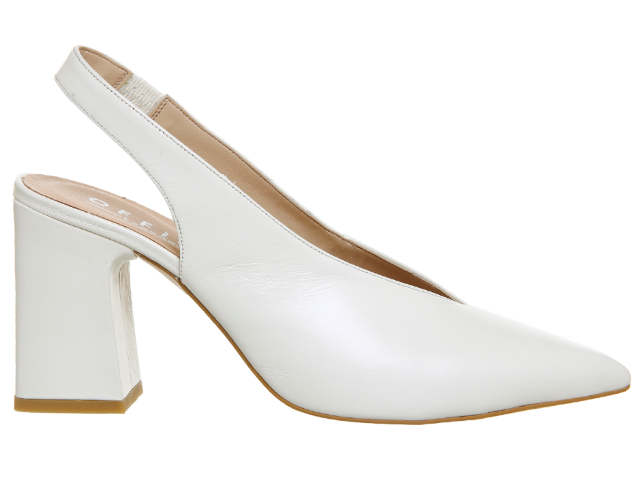 Office Mimi Chunky Slingback Heels Off White Leather