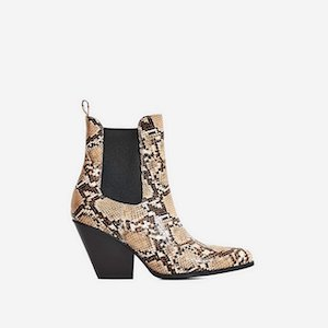 Western Ankle Boot in Nude Snake Print Faux Leather