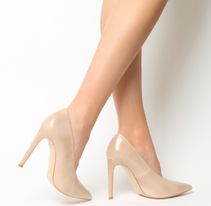 Hixter V Cut Closed Point Heels Nude Leather