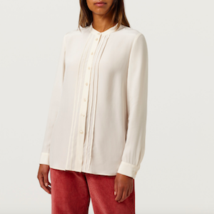 Papaya Ecru Pintuck Detail Blouse