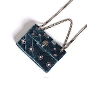 Velvet Mini Kensington Blue Embellished Mini Cross Body Bag
