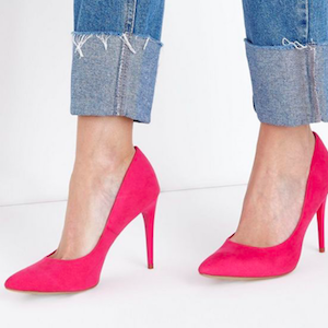 Bright Pink Suedette Stiletto Heel Pointed Courts