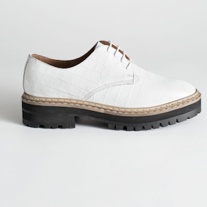 Platform Leather Croc Oxfords