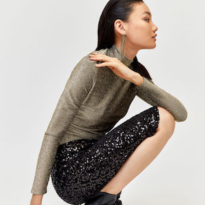 Sparkle Polo Neck Top