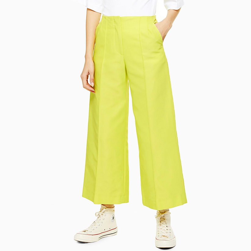 Neon Awkward Cropped Trousers By Boutique