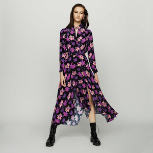 Long Asymmetric Dress In Floral Print