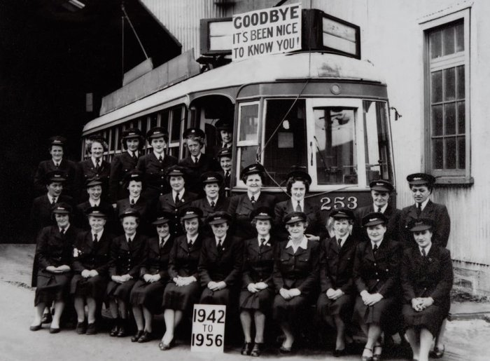 The final farewell gathering of the Auckland Tram Conductresses, Photographer Graham Stewart. 1956. [Copy print], PHO-2018-13. Walsh Memorial Library, The Museum of Transport and Technology (MOTAT).