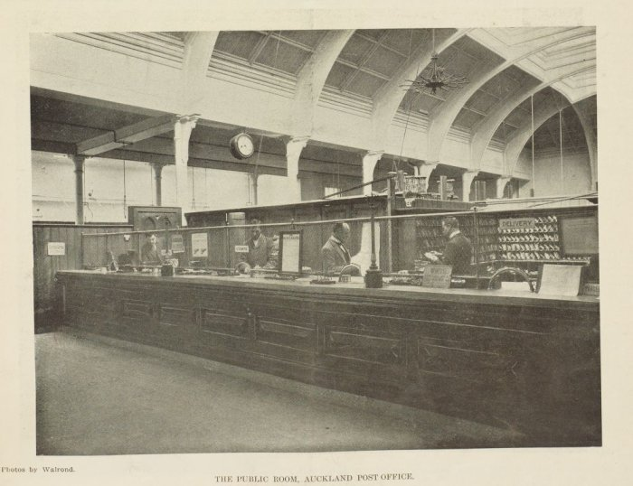 """The Public Room, Auckland Post Office."" Walrond, New Zealand Graphic, 3 August 1901, p211. Auckland Libraries Heritage Collections NZG-19010803-211-2."