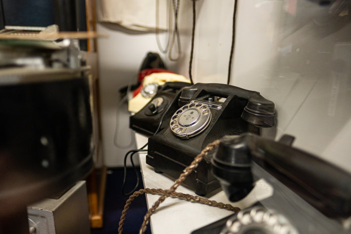 A collection of 20th century telephones.  Photo by Richard Ng