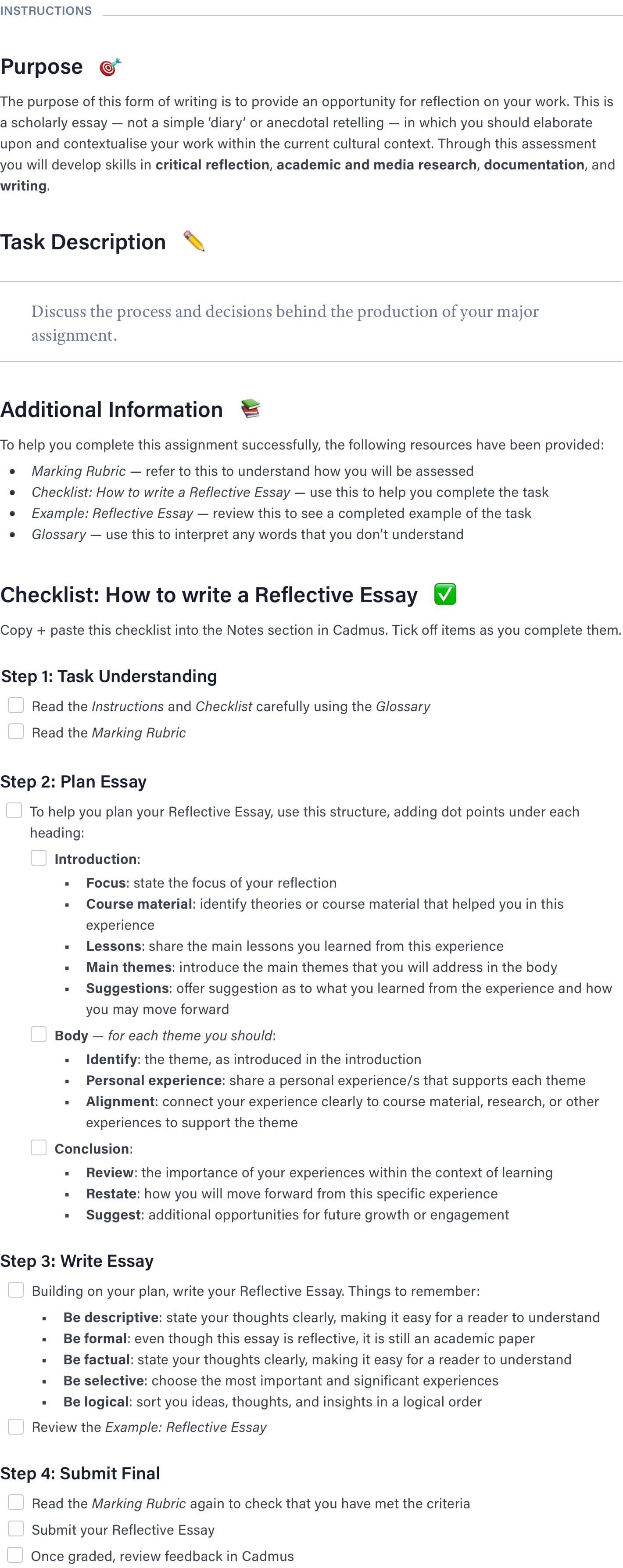 A preview of the reflective essay template in Cadmus