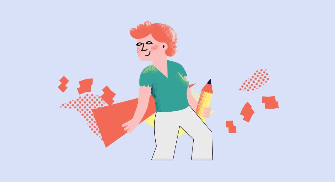 An illustration of a women holding a pencil. She's about to use the pencil to sketch out some new ways to scaffold her students through their next assignment.