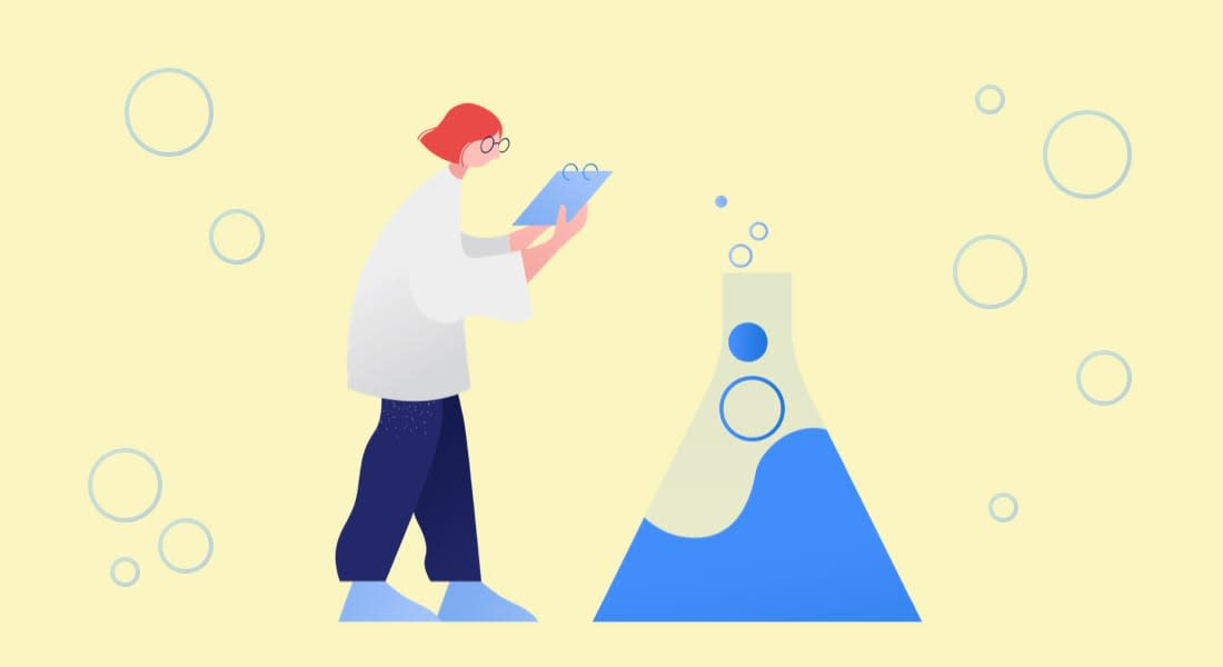 An illustration of a woman holding a notepad. Shes looking at a her science experiment, which involves a large beaker bubbling over with liquid. Hopefully it's nothing toxic.
