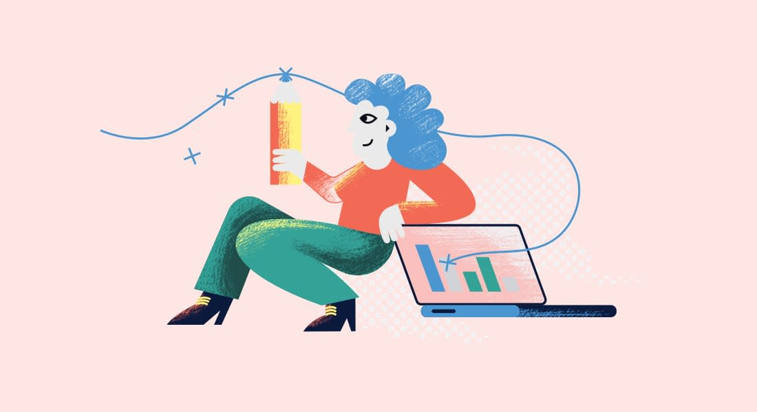 An illustration of a woman holding a pencil. She's sitting back, leaning on her laptop. It doesn't look comfortable, but she looks satisfied knowing she can track student engagement in her class through Cadmus.