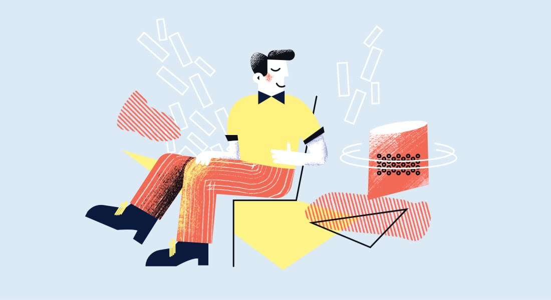 An illustration of a man sitting on a chair. He looks happy and relaxed. Like someone that's streamlined their assessment experience.