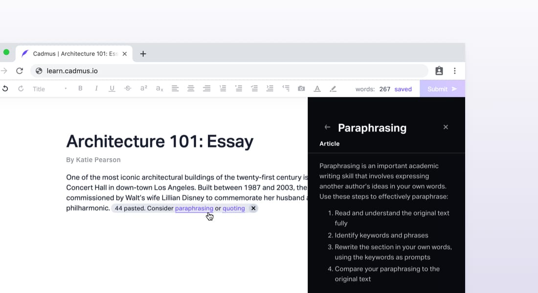 View academic writing tips in Cadmus Manual when you paste in external content